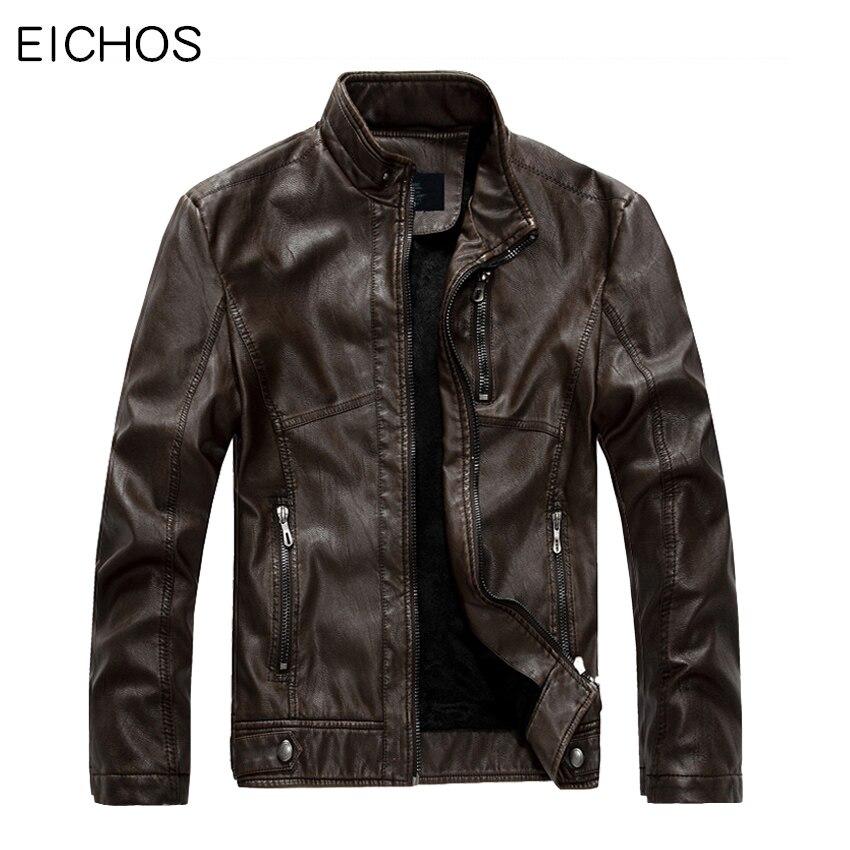 EICHOS hommes veste en cuir 2019 mode Western Cowboy moto vélo veste en cuir hommes de haute qualité Plus velours manteaux décontractés