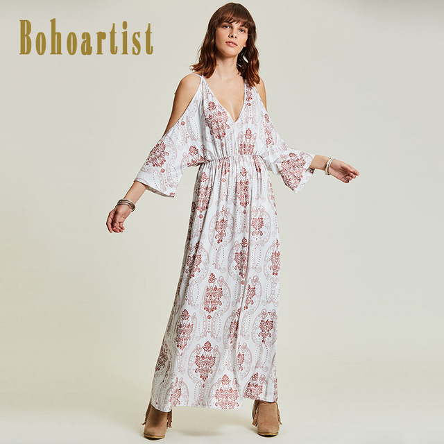 8d70e2839a4c Bohoartist Women Maxi Dress Floral Print Bohemian Deep V Neck Sexy Long  Dress Off Shoulder Batwing