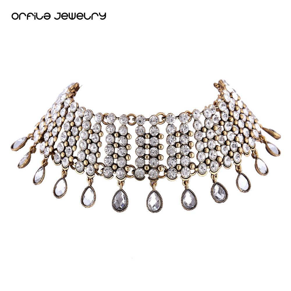 ORFILA High-end Fashion Choker Necklace For Women Gift Chocker Rhinestone Drop Shape Shining Jewelry Party Statement Necklace