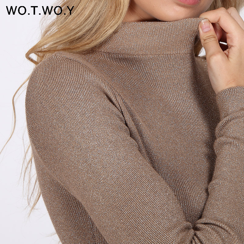 Wotwoy Shiny Lurex Turtleneck Sweater Women Pullover Knitted Slim Winter Cashmere Sweaters Womens Jumpers Basic Black Pink