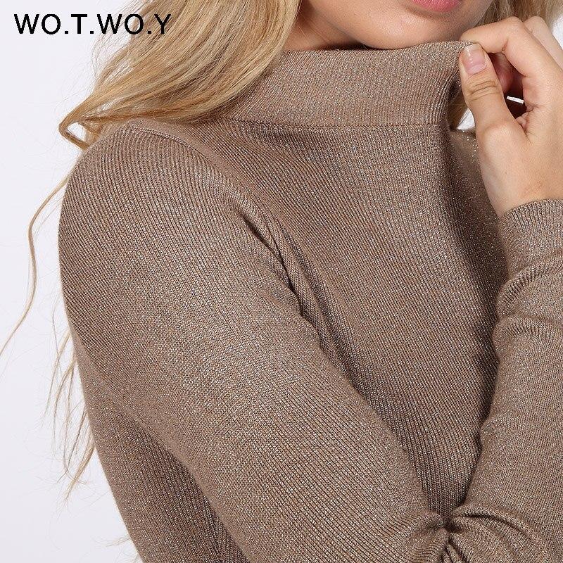WOTWOY brillante Lurex cuello alto suéter mujeres Jersey de punto de corte Slim 2018 de invierno suéteres de Cachemira mujer sudaderas negro rosa