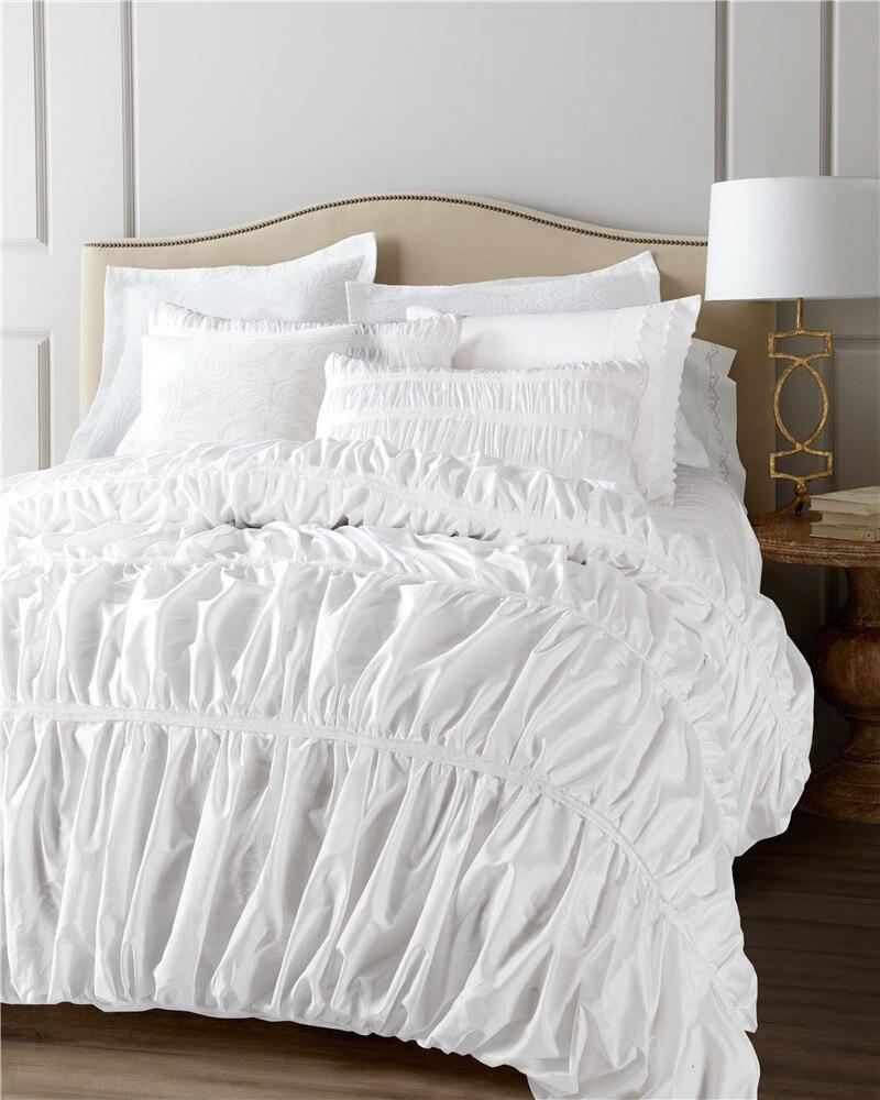 2017 New Princess Style Lace 4pc Bedding Set Washed Silk