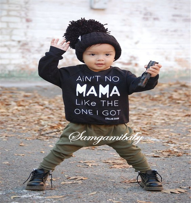 boy carter clothing Set cotton children autumn tops baby kids bobo clothes mama Letter print kids tracksuit pants+t shirts02