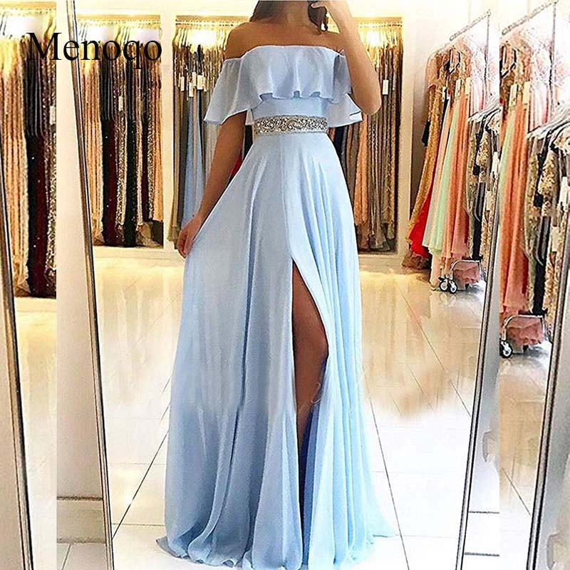 Sexy Strapless Light Blue   Evening     Dresses   Long 2019 Chiffon off the Shoulder A-line Prom   Dress   Women Party Gowns robe de soiree