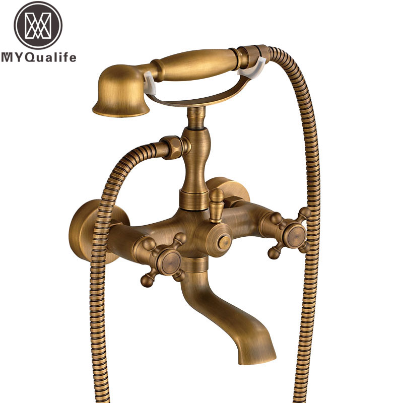Antique Brass Dual Handles Bathtub Faucet Wall Mounted Swive Spout with Handshower Tub Mixer Tap все цены