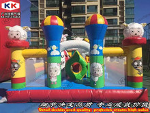 Colorful cartoon sheep family bouncer inflatable fun city inflatable fun land