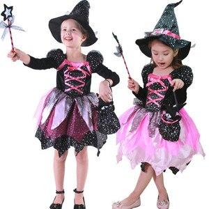 Image 4 - ילדי בנות LED אור מכשפה קוספליי תלבושות ילדים שלב ביצועי ליל כל הקדושים Masquerade מפלגה זוהרת שמלת פסטיבל פורים