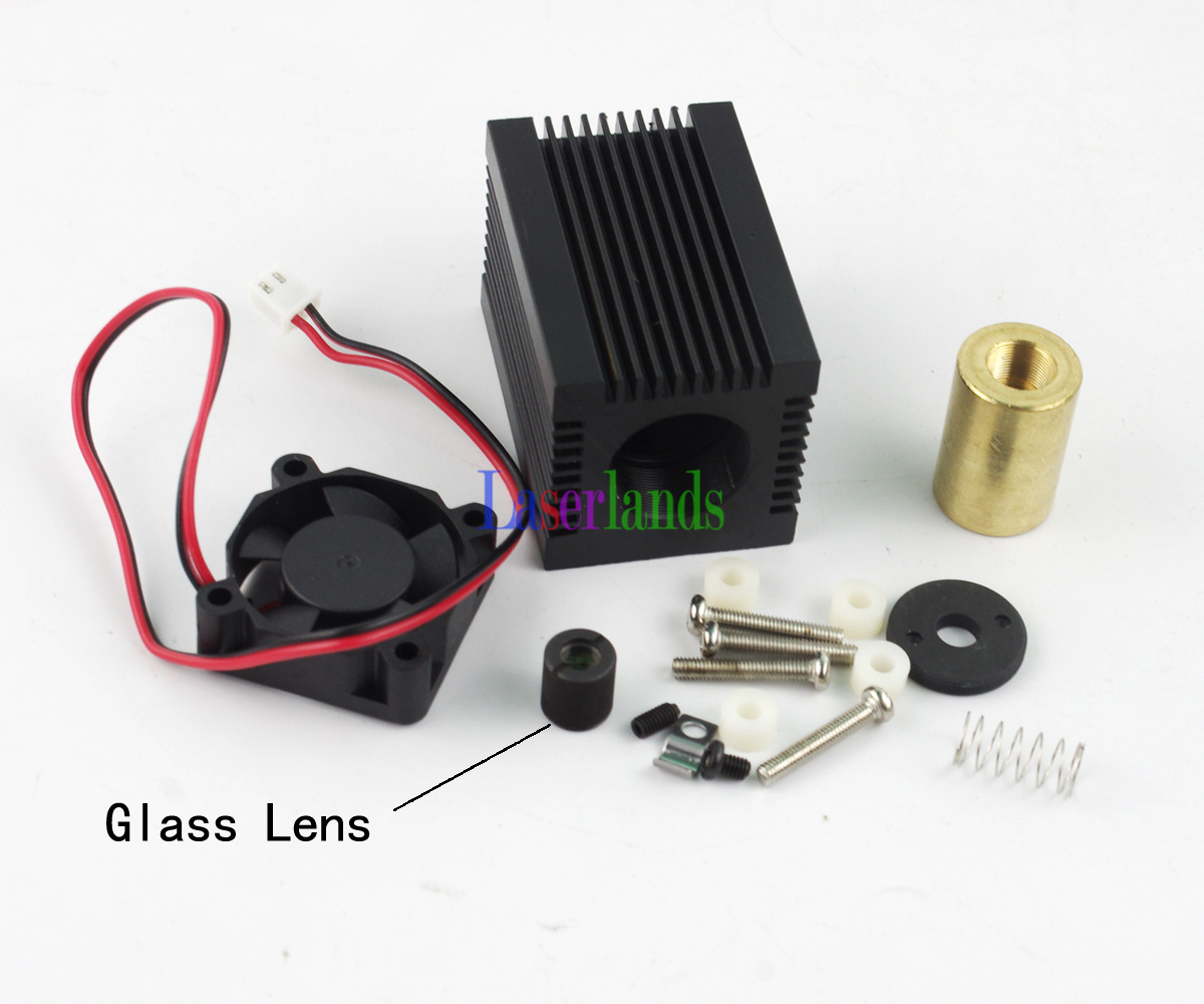 Housing/Case/Heatsink 9.0mm TO5 Red IR Laser Diode LD Module Fan + Glass Lens