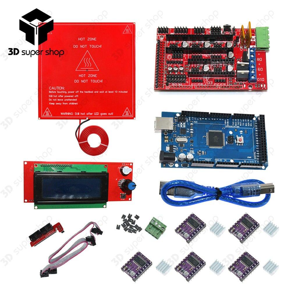 CNC 3D Printer Kit Mega 2560 R3 + Heated Bed MK2B + RAMPS 1.4 Controller + LCD 2004 + 5x A4988/DRV8825 Stepper Driver Module цена
