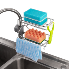 2-Layer Adjustable Faucet Storage Holders Creative Stainless Steel Kitchen Drainage Sponge Racks Multifunction Hanging Dry Shelf
