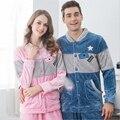 Flannel Couples pajamas suit Winter Cardigan button women/men sleepwear Home clothing