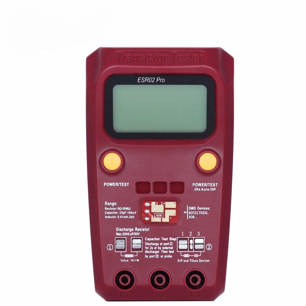ESR02PRO Digital Transistor SMD Components Tester Diode Triode Capacitance Inductance Multimeter ESR Meter color graphic display m328 transistor tester resistance inductance capacitance meter esr meter table