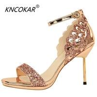 KNCOKAR 2018 Fashionable sexy nightclub high heeled shoes women's shoes with thin heels and high heeled waterproof platform