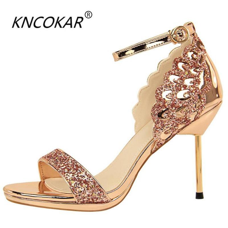 KNCOKAR 2018 Fashionable sexy nightclub high-heeled shoes women's shoes with thin heels and high-heeled waterproof platform