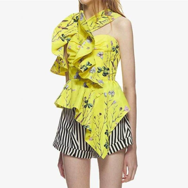 OXANT mode imprimé à volants Blouse chemise femme sans manches licou asymétrique Blouses Sexy hauts femmes 2019 été nouveau - 2