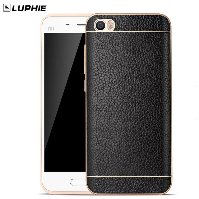 Luphie xiaomi 5 caso moldura de alumínio para xiaomi mi5 cses telefone de luxo de couro genuíno de volta caso capa
