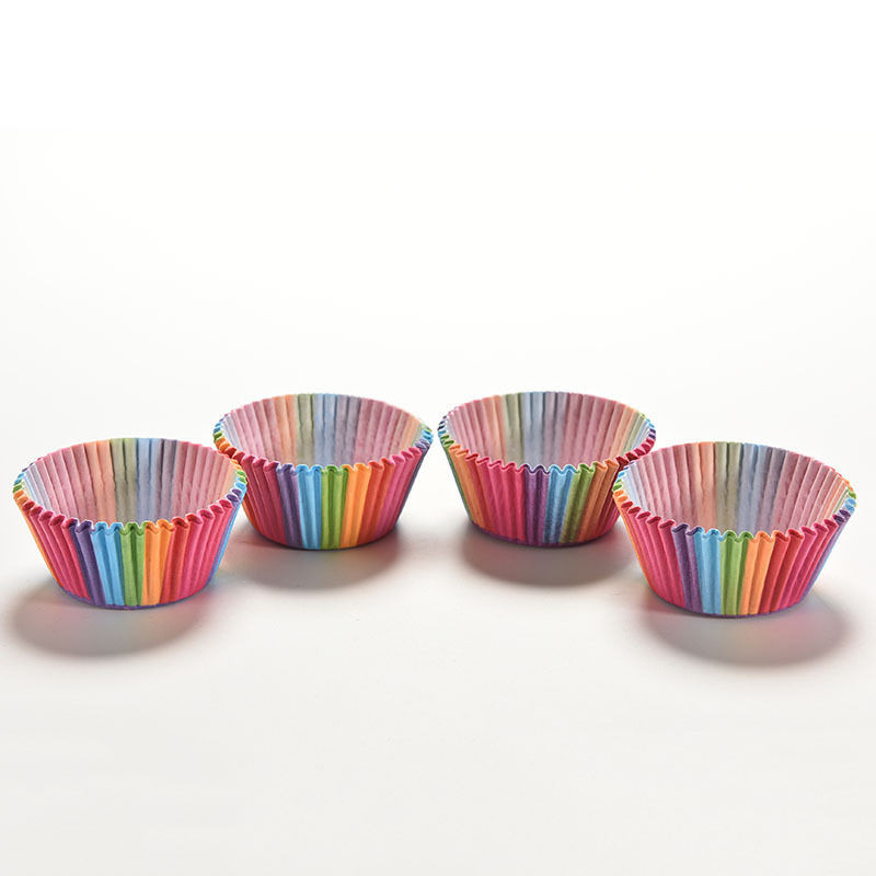 100 Pcs Colorful Rainbow Paper Cake Cupcake Liner Baking Muffin Box Cup Case Party Tray Cake Mold Decorating Tools P0.2