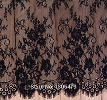 6 M / Lot French Eyelash Lace Fabric 150cm White Black Diy Exquisite Lace Embroidery Clothes Wedding Dress Accessories RS213