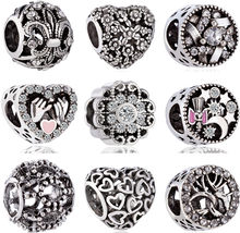 Vintage Tibet Silver Color Hamsa Hand Flowers Hearts Crystal Infinity Beads Charms Fit Pandora Bracelets Women Punk DIY Berloque(China)