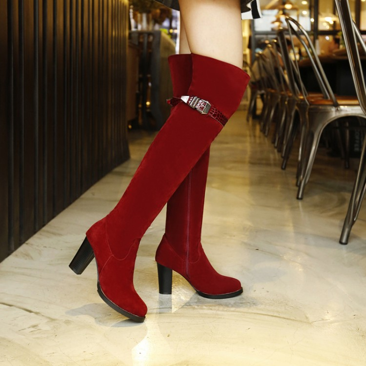 2017 Rushed Botas Mujer Boots Big Size Women Knee High Boots Sexy Chunky Heels Round Toe Spring Autumn Shoes Less Platform 8155 new women knee high boots black and white sexy low heels pu leather autumn winter shoes round flat platform boots botas mujer