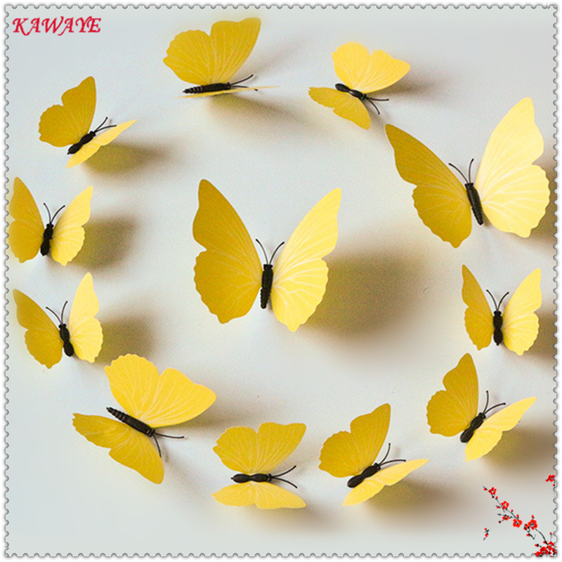 12pcs Solid Color Simulation Butterfly Stickers 3D Three dimensional ...