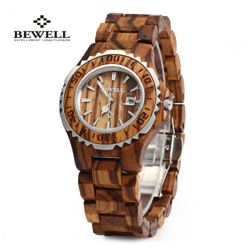 Bewell Wooden Watches Women Top Luxury Brand Auto Date Quartz Watch Clock Friendly Wristwatch Relogio Feminino For Women Gift wooden watches women quartz wristwatch smart fashion brand designer wood watch clock reloj mujer relogio feminino sihaixin 2017