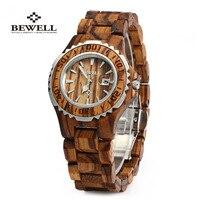 Bewell Wooden Watches Women Top Luxury Brand Auto Date Quartz Watch Clock Friendly Wristwatch Relogio Feminino For Women Gift