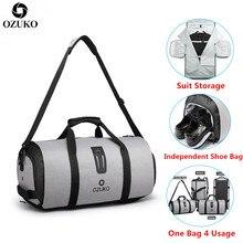 Bolsa de viaje para hombre OZUKO, bolsa de lona impermeable multifunción de gran capacidad, bolsa de mano para almacenamiento, bolsas de viaje para equipaje con bolsa para zapatos