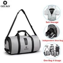 OZUKO seyahat çantası erkekler büyük kapasiteli çok fonksiyonlu su geçirmez silindir çanta takım elbise depolama el çantası seyahat bagaj çanta ayakkabı çantası