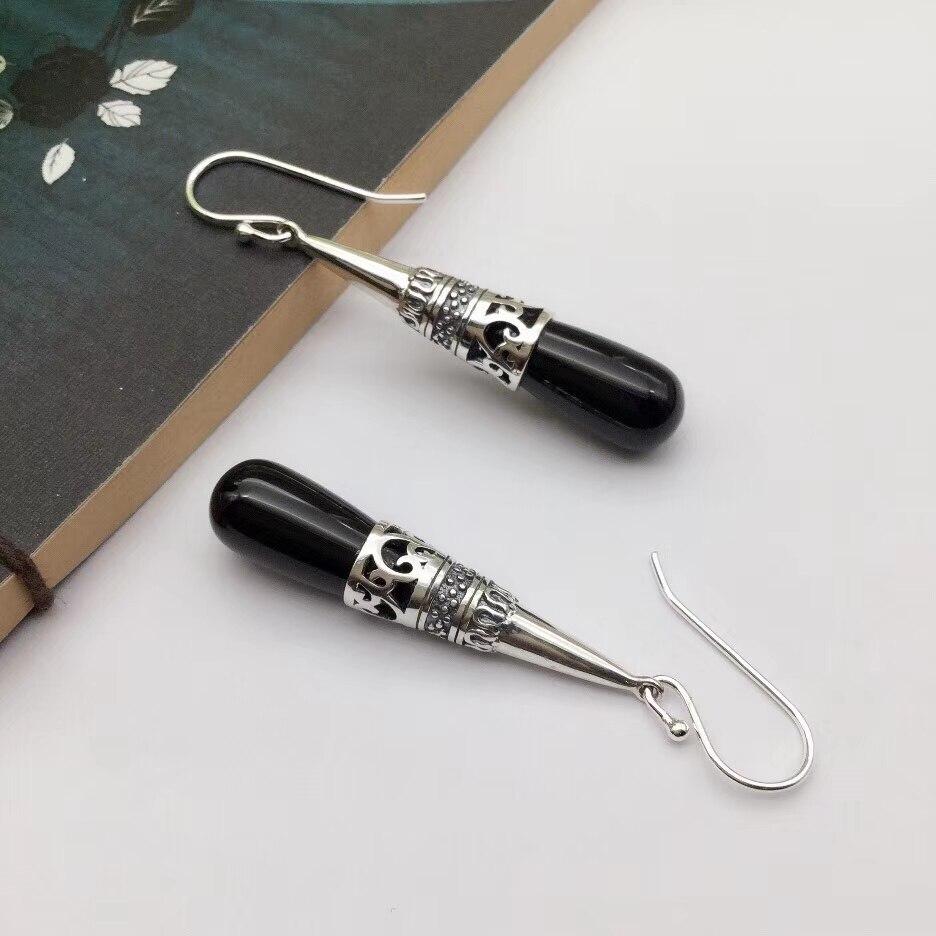Real S925 Silver & Black Agate Hook Earrings Women's Raindrop Earrings Drop 40mmH