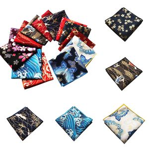 Hand - Made Fabric Japanese Style and Wind Pocket Towel Cotton Satin Bronzing Butterfly Waves Cherry Blossom Crane Handkerchief