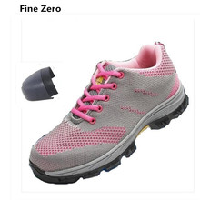 Fine Zero Unisex lightweight anti-smash man Anti-Puncture steel toe caps work safety shoes male big size 46 industry ankle boots