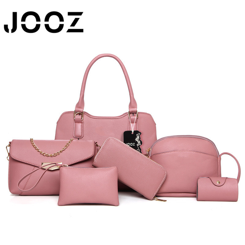 ФОТО JOOZ Brand Luxury woman Patchwork bag Lady Handbag 6 Pcs Composite bags Set Women Shoulder Crossbody Bags Purse Clutch