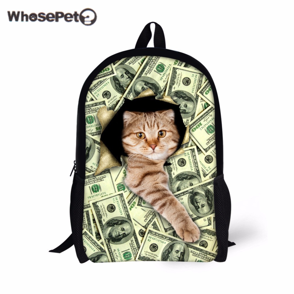 WHOSEPET Funny Cats School Backpacks For Girls Boys Green Shoulder Bag Fashion Causal Primary Book Bags Cute Dog Printed Satchel