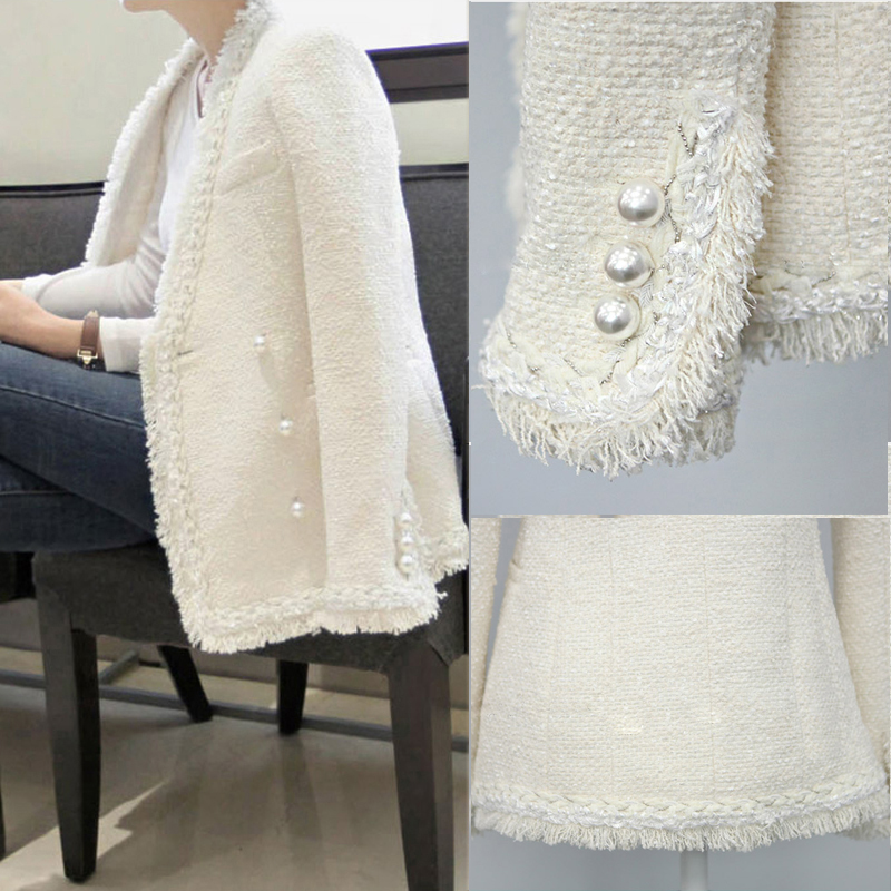 US $39.2 20% OFF|Office Lady Casaco Runway Women Vintage Pearl Tassels Tweed Slim Jacket Coat Fashion Double Breasted Black White Outerwear