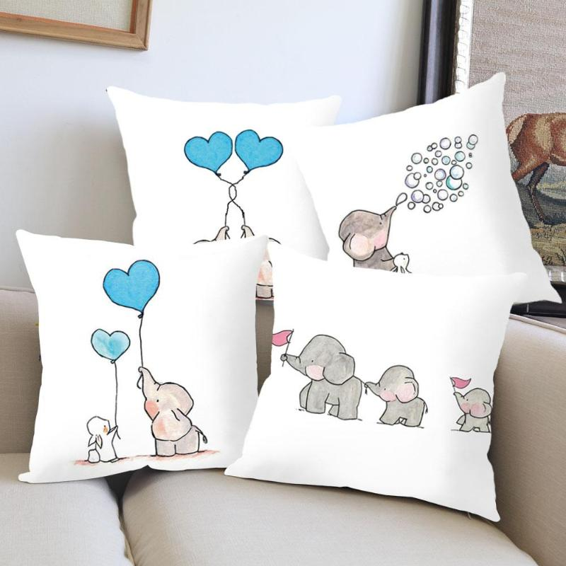 Linen Pillowcase Cartoon Elephant Balloon Cushion Cover for Home Sofa Seat Car Decorative Pillow Cover Party Decor