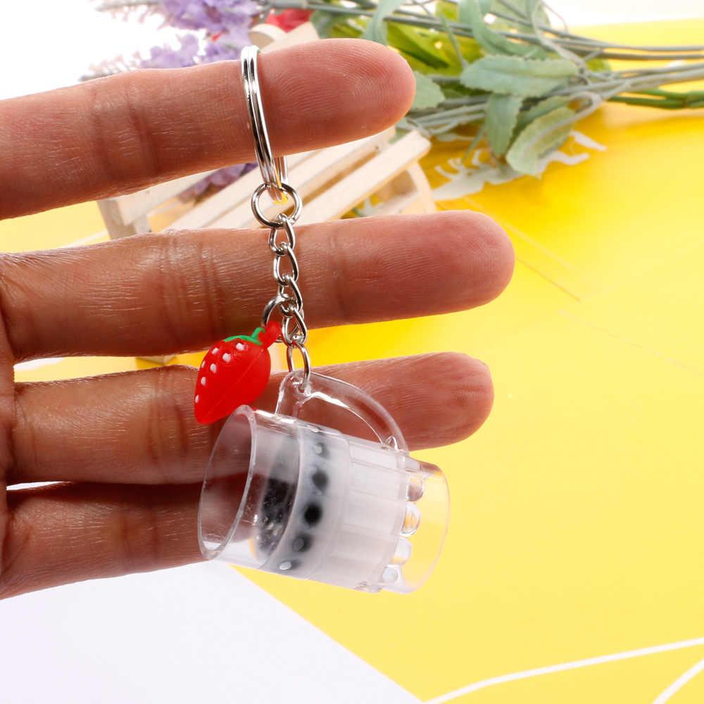 Llavero creativo Mini de bebida suave llavero de té de leche de coco llavero de burbujas de té acrílico móvil llavero de chica lindo regalo
