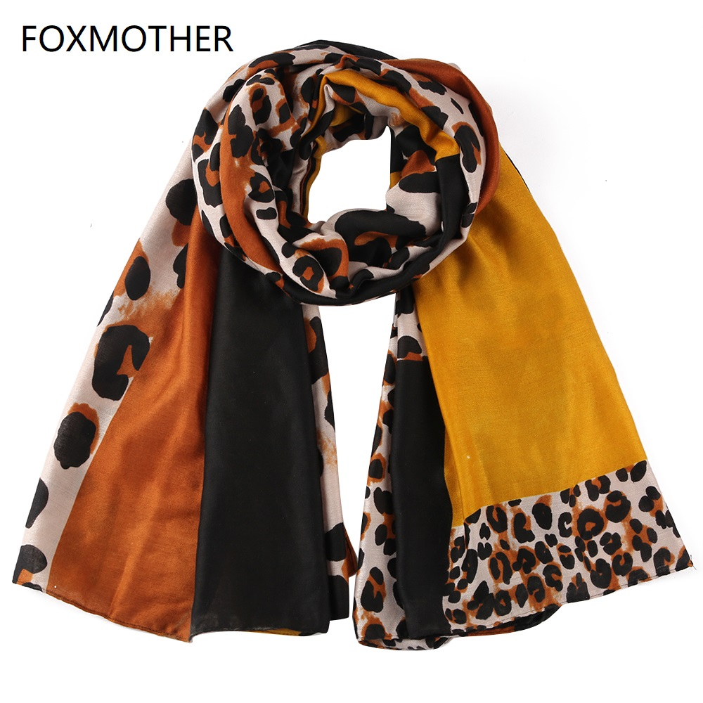 FOXMOTHER Fashion Yellow Leopard Scarves Wraps Patchwork Stoles Shawl Ladies Womens 2019