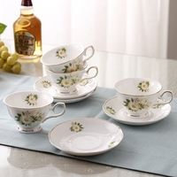 High Quality Chinese Ceramic Coffee Cup Tea Cup Flower Design Afternoon Tea Cup Set Elegant Cups and Saucer Spoon Set Best Gift