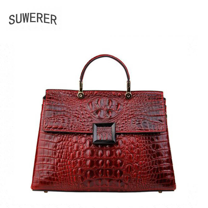 Genuine Leather handbag  2017 new luxury crocodile pattern handbag Fashion Shoulder Messenger Bag Women's handbags Hand bag yuanyu new 2017 new hot free shipping crocodile women handbag single shoulder bag thailand crocodile leather bag shell package