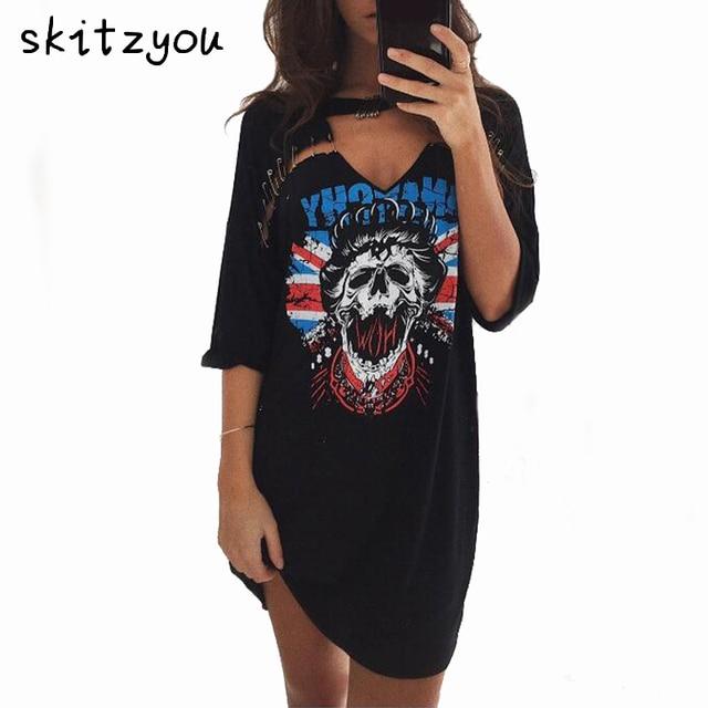 a0dcd1aea8d040 € 16.47  Skitzyou Impression t shirt Robe Punk Rock Style D'été Femmes  Casual Mini Gris Robe Sexy Noir V Cou Soirée Courte Robes robes dans Robes  ...