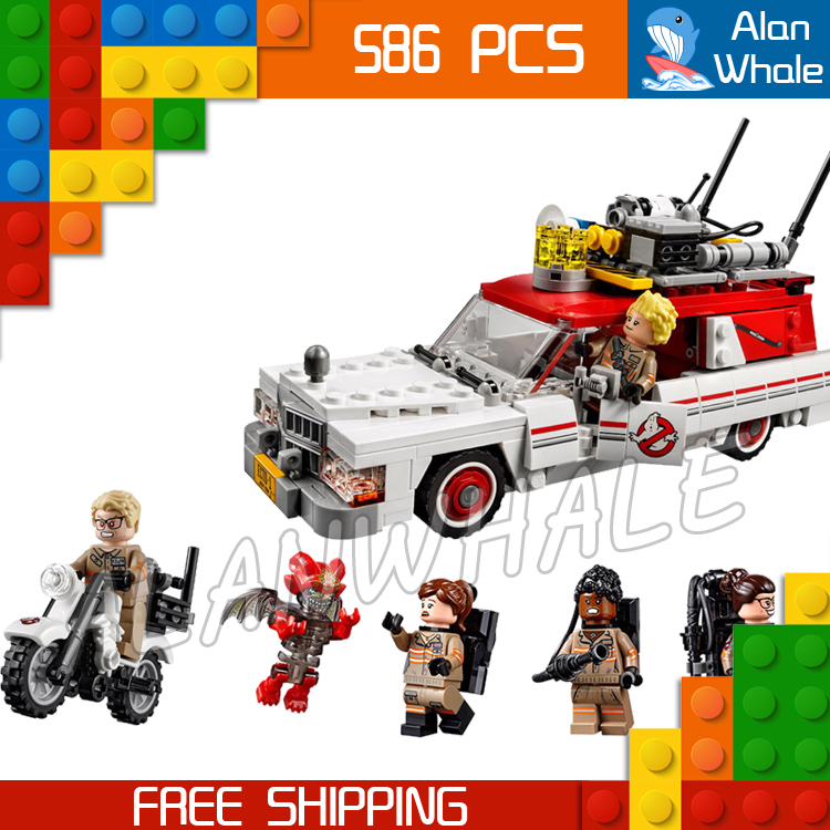586pcs Ghostbusters Ecto 1 & 2 Movie Police cars 16032 Figure Building Blocks Assemble  Children Toys Compatible With LegoING-in Blocks from Toys & Hobbies