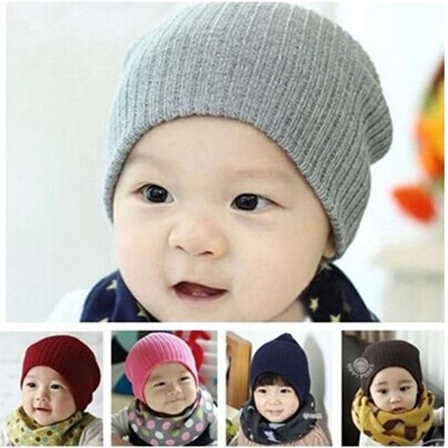 f2a8ea29073 DreamShining Baby Hat Kids Newborn Knitted Cap Crochet Solid Children  Beanies Boys Girls Hats Headwear Toddler Caps Accessories
