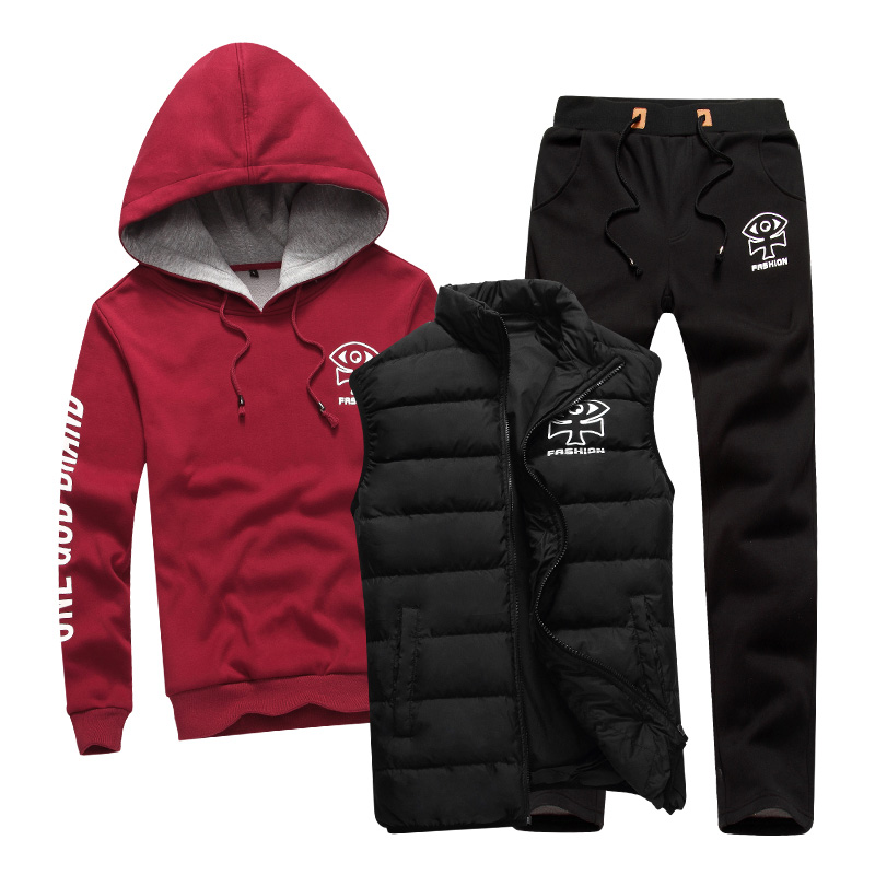 3 PCS Sport Suit Men Set Brand Hoodie Cotton Warm Winter Male Zipper Sportswear Clothes Sweatshirt Coat Hood Running Tracksuit