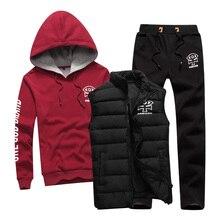 3 PCS Sport Suit Men Set Brand Hoodie Cotton Warm Winter Male Zipper Sportswear Clothes Sweatshirt Coat Hood Running Tracksuit
