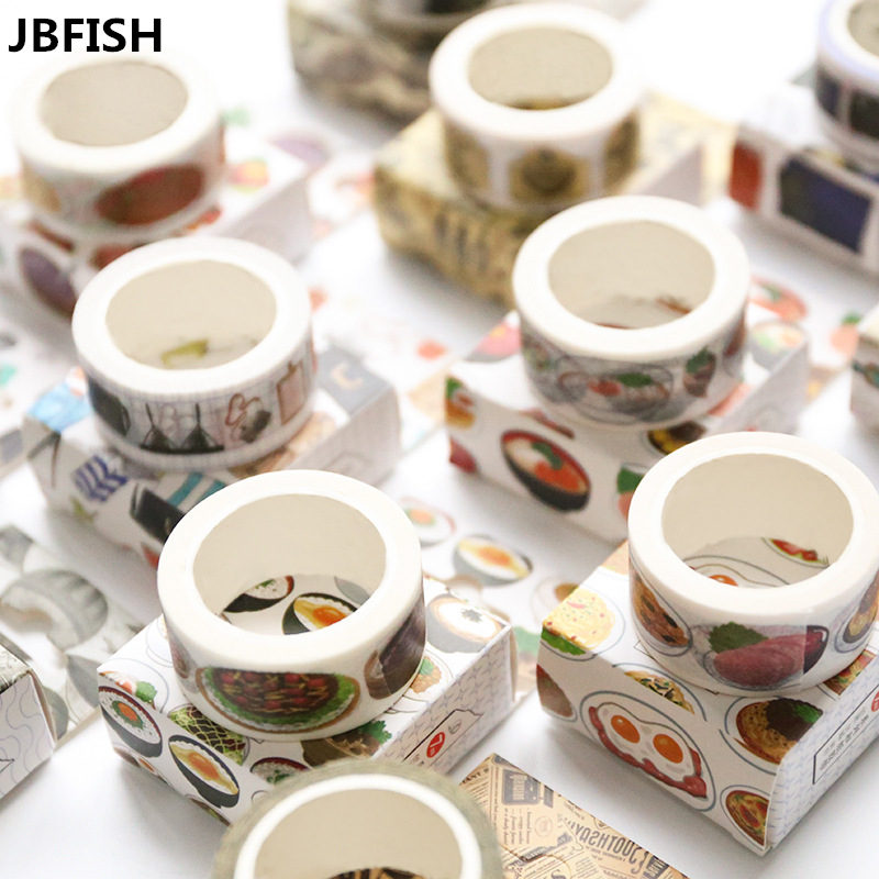 JBFISH Creative Cute Animals Foods Japanese Decorative Adhesive Washi Tape Diy Scrapbooking Masking Paper Tape 3300