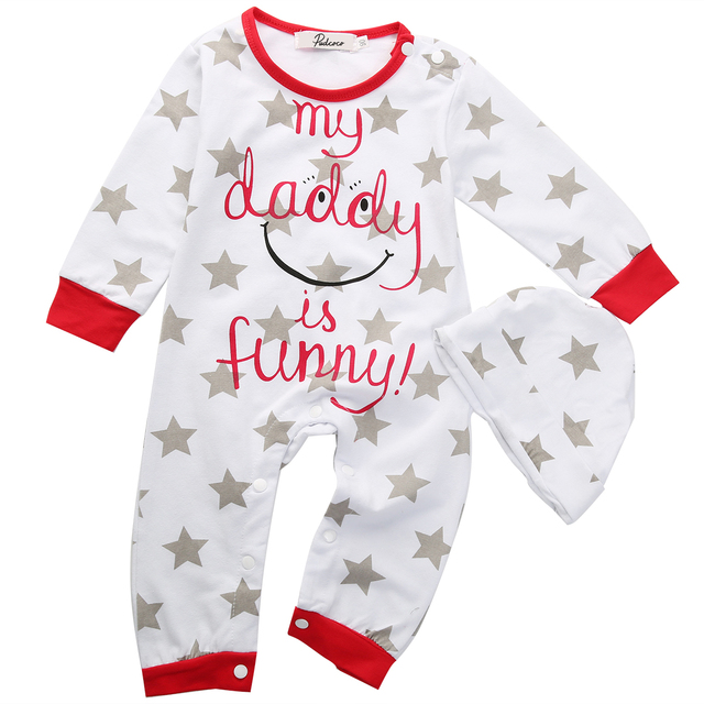 2pcs Baby Boy Girl clothes Mum Dad Newborn Infant Romper Hat Sleepsuit  Outfits Set f2d14d3b309
