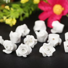 20pc/lot 8mm/10mm White Mini Polymer clay Fimo Rose Flower Beads Diy Making Wedding Bridal Veils Mantilla 3D Nail Art Materials