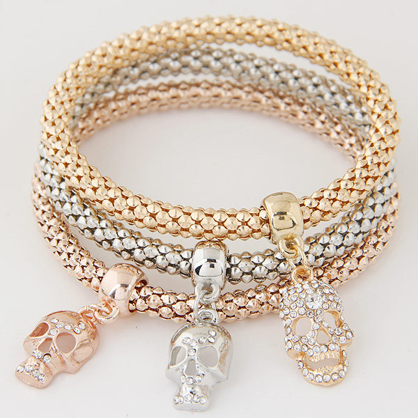 LEMOER 3PCS Fashion Gold Color Crystal Skull Charm Bracelets   Bangles  Multilayer Elastic Chain Jewelry Gifts pulseira feminina c45888277432
