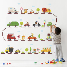 Cartoon Animal Car Bus Station Wall Stickers For Kids Rooms Nursery Home Decor Animals Decals Posters Pvc Mural Art